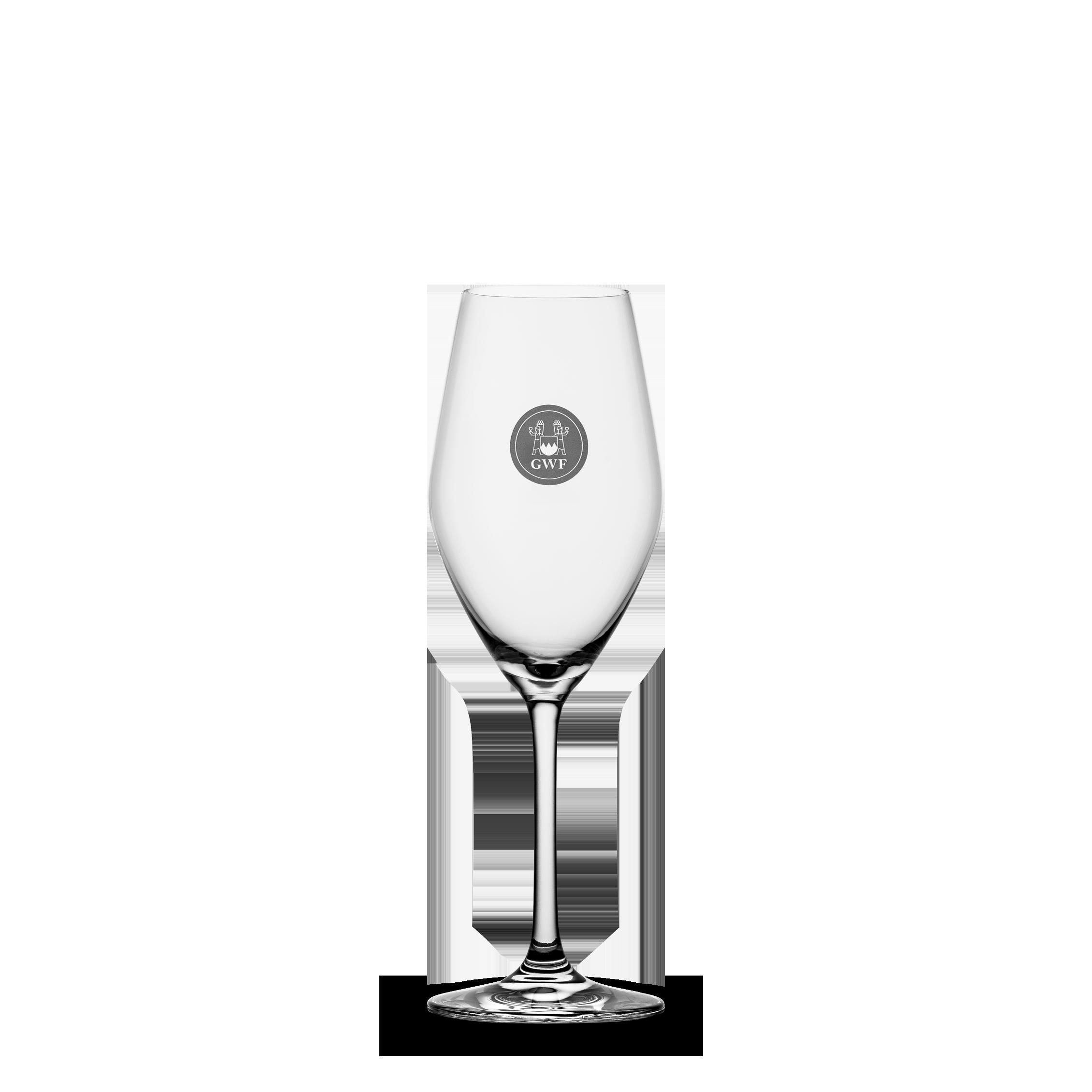 Champagner-Glas 0,1 Liter geeicht, mit Logo