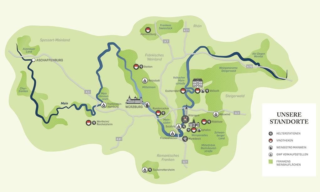 Einordnung der Region Kitzingen und der GWF FrankenVinothek auf einer Karte der Weinregion Unterfrankens.