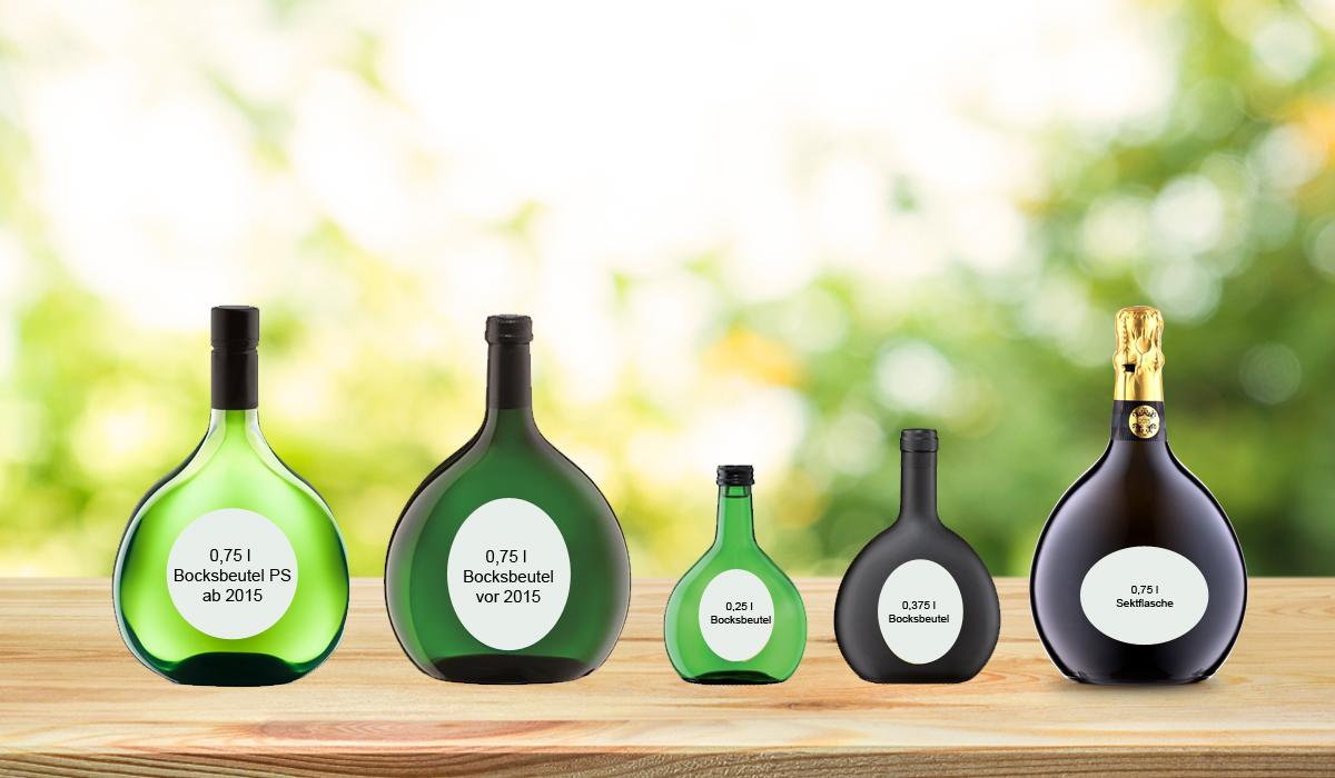 Verschiedene Bocksbeutelflaschen im Vergleich