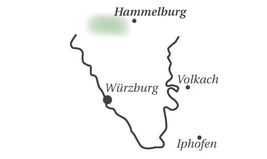 Karte mit geografischer Einordnung der Region Hammelburg im fränkischen Weinland.