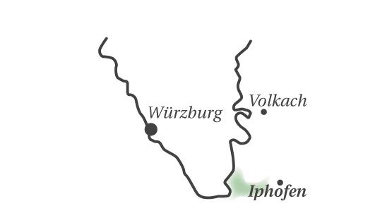 Karte mit geografischer Einordnung der Region Iphofen im fränkischen Weinland.