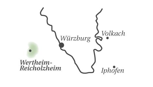 Karte mit der Lage des GWF Winzerkellers im Taubertal im fränkischen Weinland
