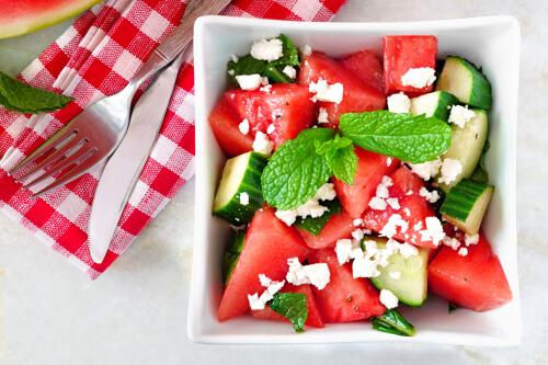 Melone gurke feta salat