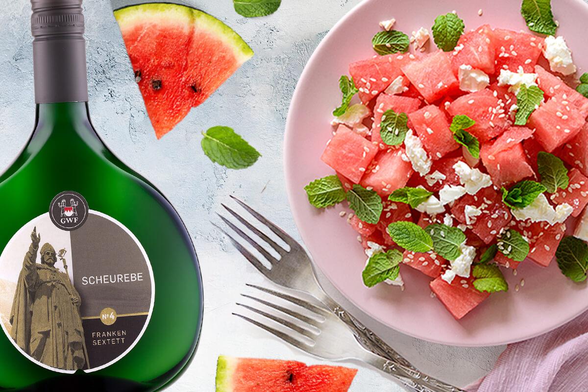 Melone und Scheurebe