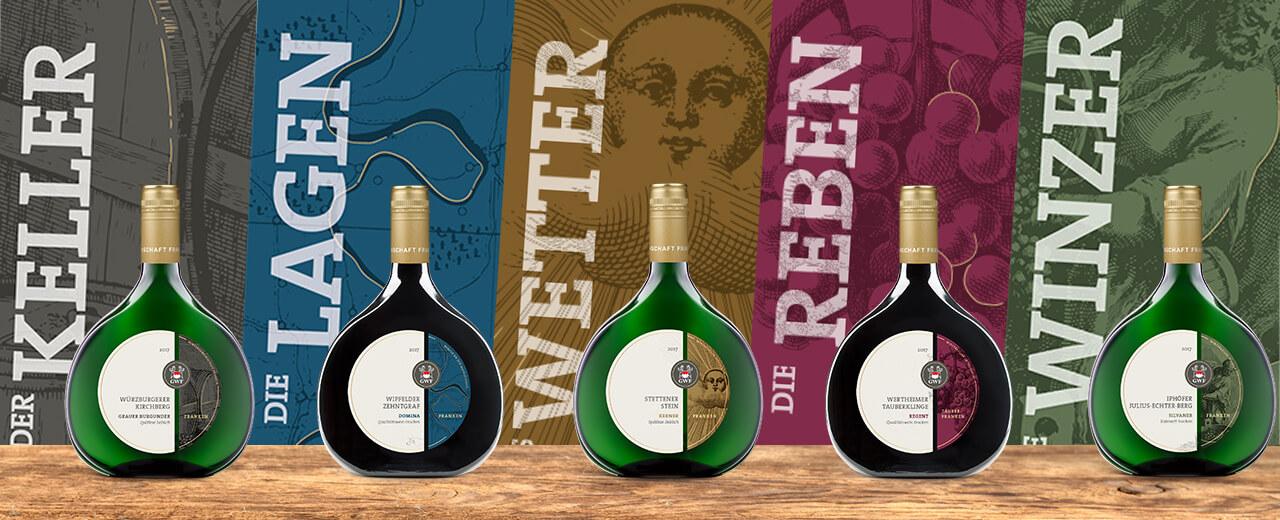 Klassische Linie der GWF - Traditionelle Frankenweine im fränkischen Bocksbeutel